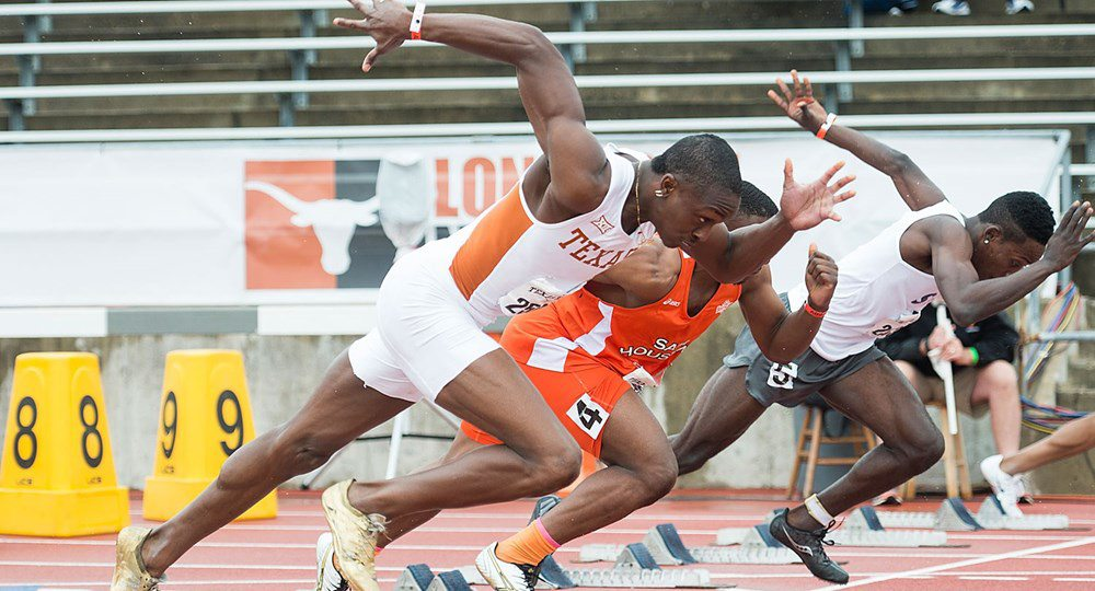 Texas junior AJ Bailey won the 200-meter dash and ran a leg of UT's runner-up 4x400-meter relay to help the Longhorns win the Texas Invitational (photo courtesy of texassports.com).