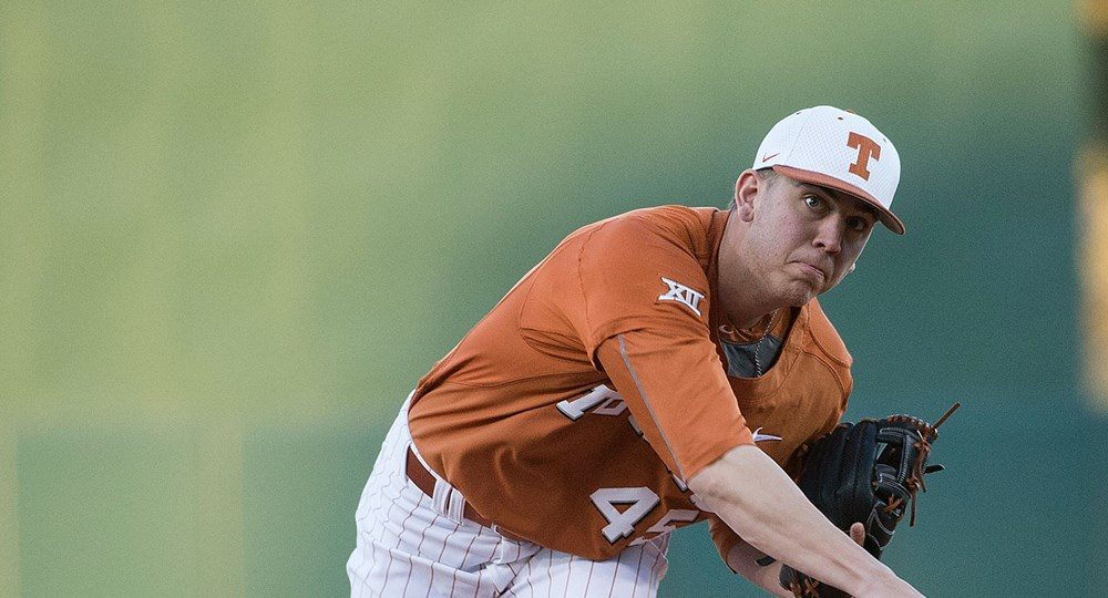 Freshman Nolan Kingham walked two and surrendered a two-run home run before getting pulled after just two-thirds of an inning in UT's 5-0 home loss to Texas A&M-Corpus Christi (photo courtesy of texassports.com).