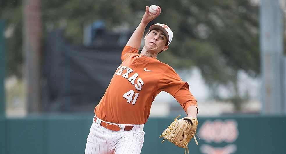 UT's Morgan Cooper suffered his third loss of the season Saturday despite a strong performance in which he allowed just two hits and one unearned run in six innings (photo courtesy of texassports.com).