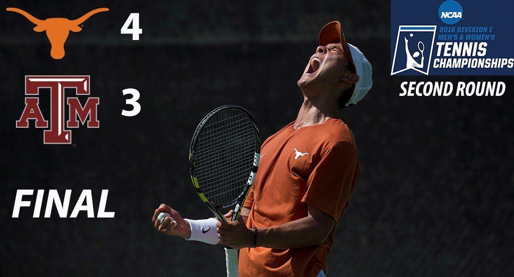 No. 18 Texas Men's Tennis knocks off No. 12 Texas A&M in NCAA Second Round