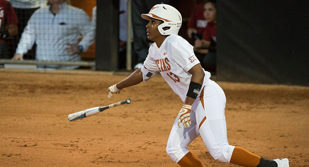 Senior center fielder Lindsey Stephens is winding down her career with the Texas softball team in style, collecting national and conference player of the week honors for her offensive outburst in UT victories over North Texas and Iowa State (photo courtesy of texassports.com).