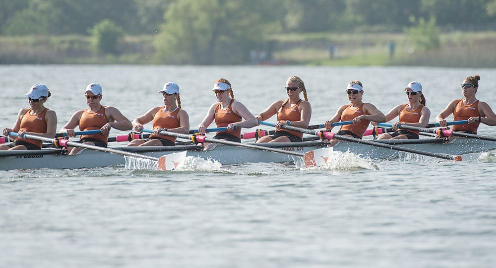 The University of Texas rowing team finished eighth at the NCAA Championships, thanks in part to the first finals victory at an NCAA Championship in the history of the UT program (photo courtesy of texassports.com).