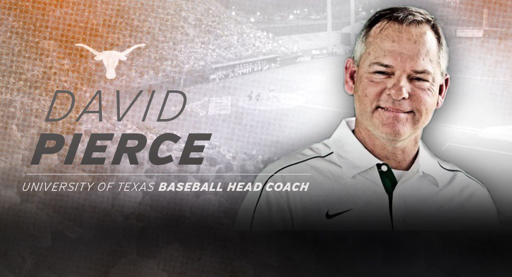 Former Tulane baseball head coach David Pierce will be introduced Thursday as the 13th head coach in the 112-year history (image courtesy of texassports.com).