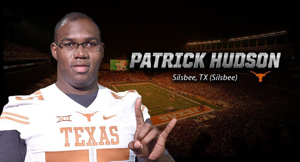 Patrick Hudson, ranked by some as the top offensive guard in the country last season, raised to four the number of former Baylor signees who will play football at Texas this fall (graphic courtesy of texassports.com).