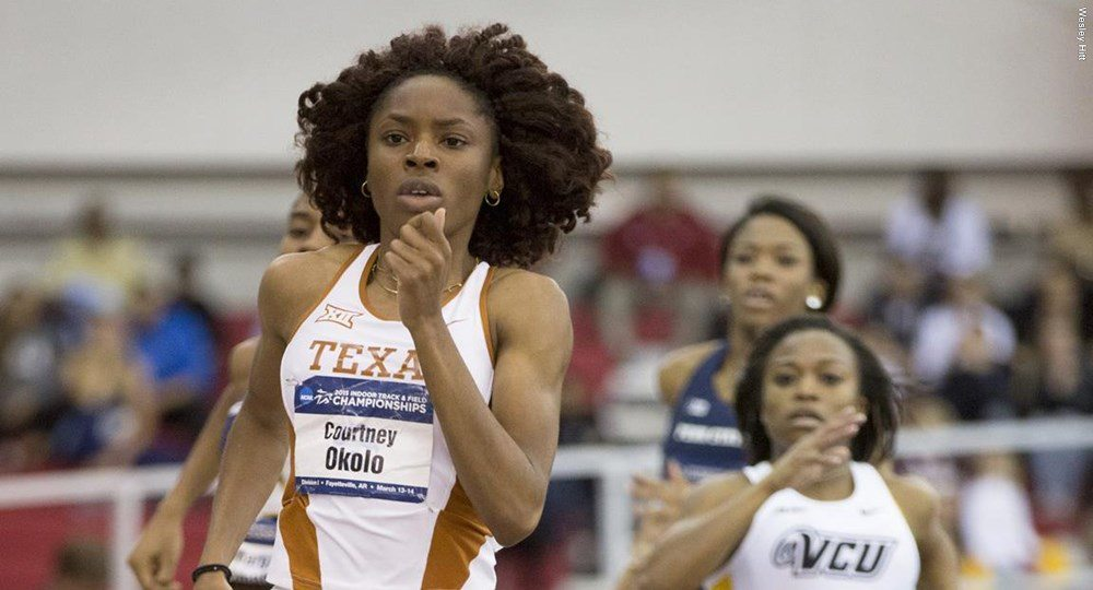 Texas track star Courtney Okolo has been named a finalist for the 2016 Women's Bowman Award, the sport's highest individual honor (photo courtesy of texassports.com).