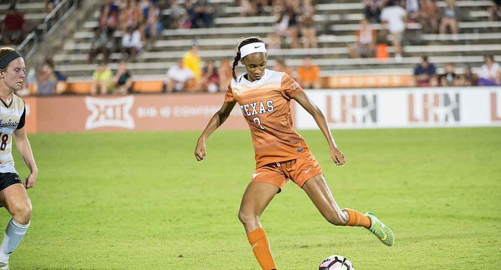 Sophomore forward Alexa Adams scored an insurance goal in the Texas soccer team's 3-1 victory over Detroit (photo courtesy of texassports.com).
