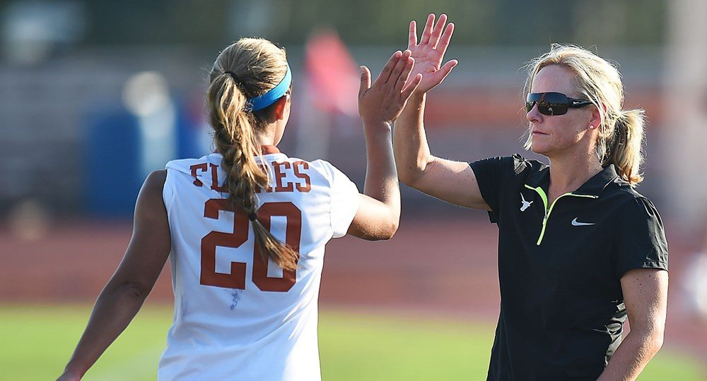 Forward Mikayla Flores, head coach Angela Kelly and the Texas Longhorns have been picked sixth for the second year in a row in a poll of the Big 12's women's soccer coaches (photo courtesy of texassports.com).