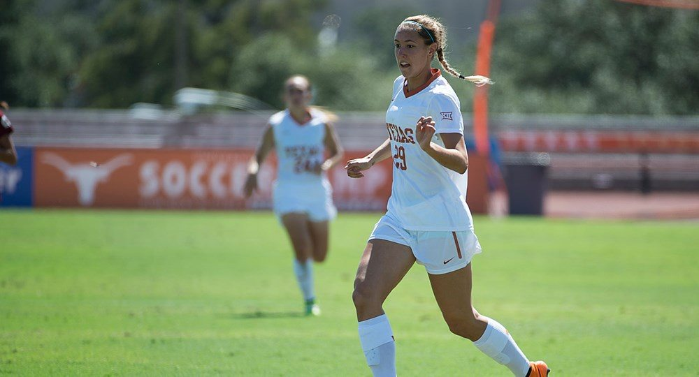 Junior forward Olivia Brook scored twice in the University of Texas soccer team's 3-0 exhibition victory over Texas A&M-Corpus Christi (photo courtesy of texassports.com).
