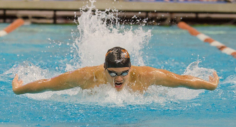 University of Texas swimmer Joseph Schooling set a new Olympic record while winning the gold medal in the 100-meter butterfly at the 2016 Olympic Games in Rio de Janeiro, Brazil (photo courtesy of texassports.com).