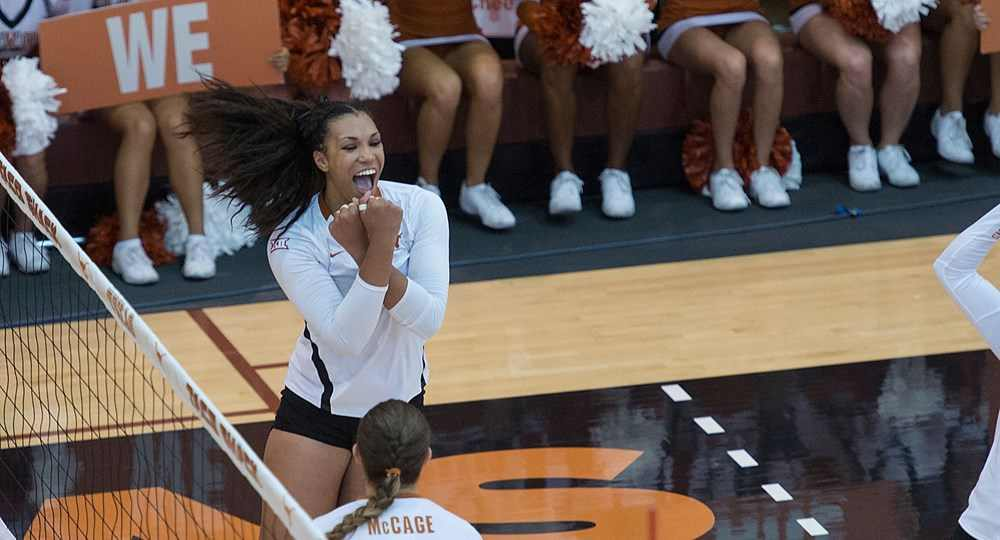 Outside hitter Ebony Nwanebu led the Texas volleyball team with 13 kills, but the No. 2 Longhorns still fell in straight sets to No. 1 Nebraska (photo courtesy of texassports.com).