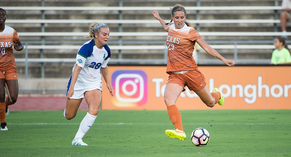 Junior forward Olivia Brook tied for the team lead with three shots as the Texas soccer team outshot Seattle, 17-10, but lost its season opener, 1-0 (photo courtesy of texassports.com).