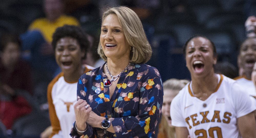 An 89-46 record and three NCAA tournament appearances have earned Texas women's basketball head coach Karen Aston a three-year contract extension (photo courtesy of Texas athletics).