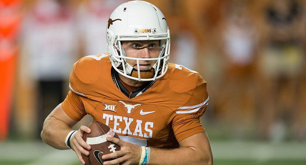 Freshman quarterback is two games into his career, has started twice and earned Big 12 Newcomer of the Week honors both times (photo courtesy of texassports.com).