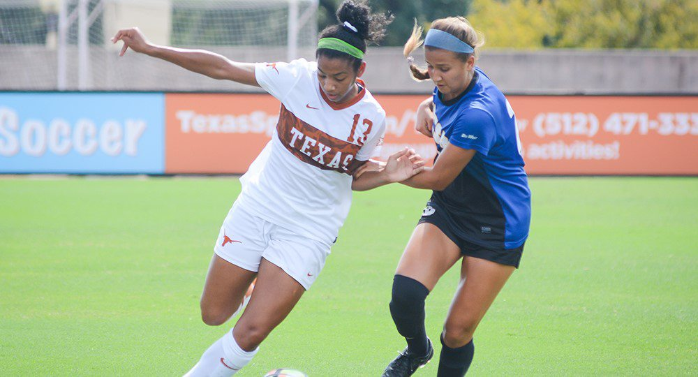 Freshman forward Cyera Hintzen's second goal of the season was not enough for the Texas soccer team, which lost, 2-1, in overtime at Oklahoma (photo courtesy of texassports.com).
