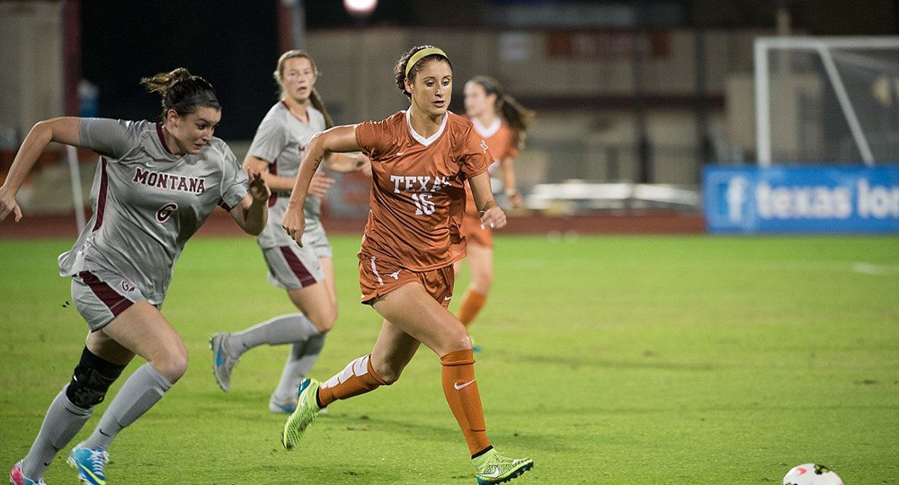 Midfielder Kayra Dollas scored her first goal of the season Friday, but the Texas soccer team could not make that lead hold up, losing in double overtime loss to Oklahoma State, 2-1 (photo courtesy of texassports.com).