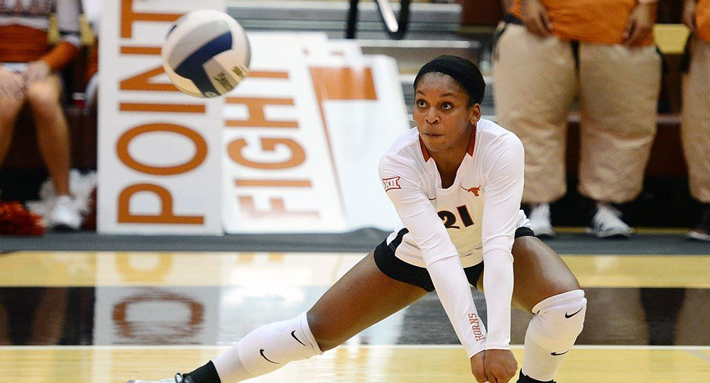 Chloe Collins was one of two Texas volleyball players to post a double-double in the Longhorns' victory over Lipscomb (photo courtesy of texassports.com).
