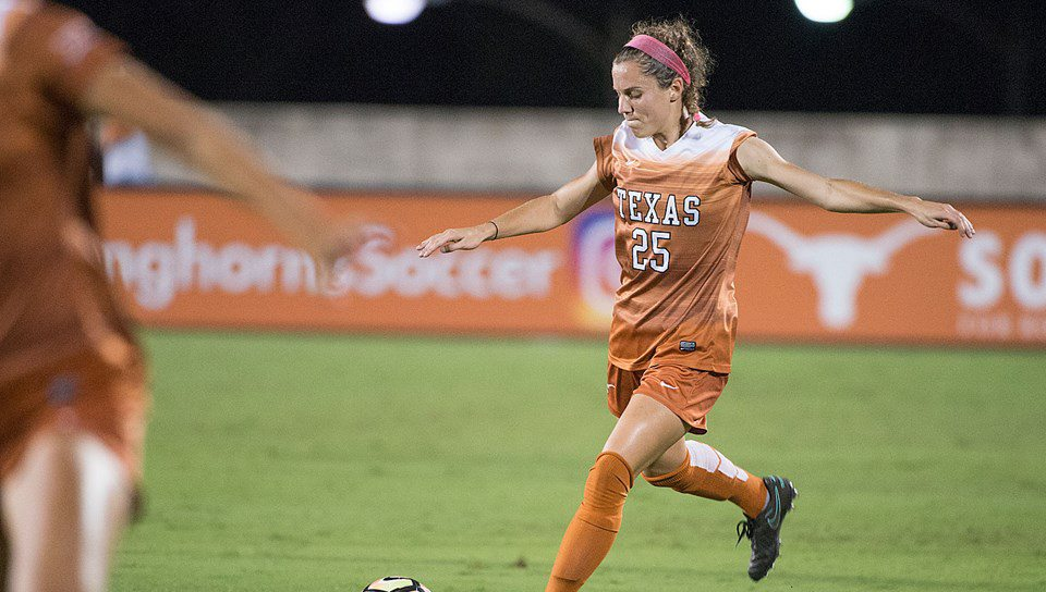 Sophomore Katie Glenn's third goal of the season helped the University of Texas soccer tie Baylor in the conference opener for each team (photo courtesy of texassports.com).