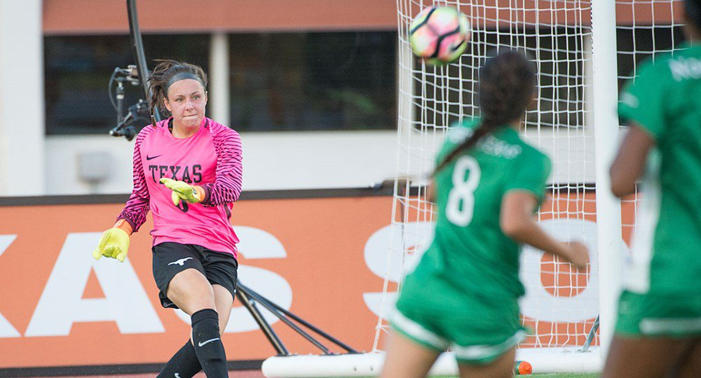 Senior goalkeeper Paige Brown picked up her second shutout of the season as the Texas soccer team blanked visiting North Texas, 1-0, Friday night (photo courtesy of texassports.com).