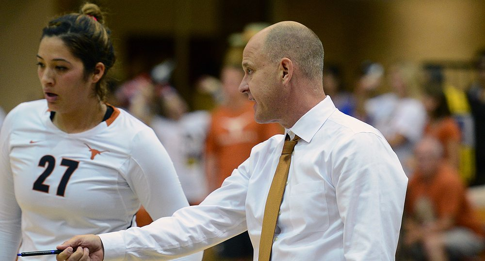 Thanks to his new contract extension, University of Texas volleyball head coach Jerritt Elliott will remain on the Longhorns' sideline at least through 2018 (photo courtesy of Texas athletics).