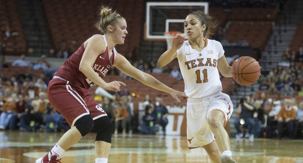 Junior guard Brooke McCarty earned preseason all-conference recognition from the Big 12's women's basketball head coaches (photo courtesy of texassports.com).