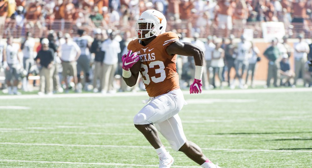 Texas football head coach Charlie Strong said running back D'Onta Foreman, who has rushed for 1,105 yards this season, should be getting consideration for the Doak Walker Award (given annually to the nation's best college running back) and for the Heisman Trophy (photo courtesy of texassports.com).