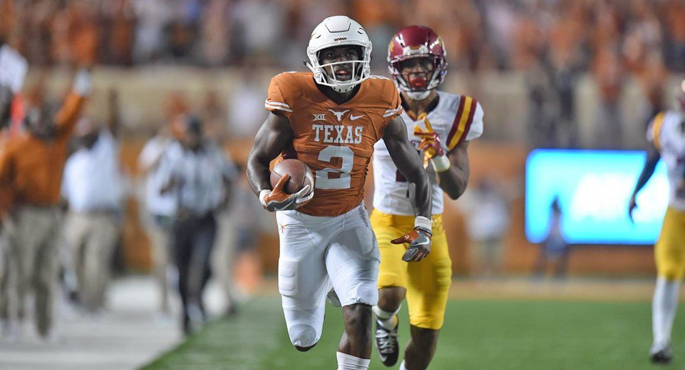 For his efforts in the Texas football team's victory over Iowa State, wide receiver Devin Duvernay was named the Big 12 Freshman of the Week (photo courtesy of texassports.com).