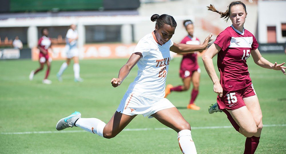 Senior forward Jasmine Hart doubled her season total for goals scored when she scored both goals in the Texas soccer team's 2-0 victory Friday over Texas Tech (photo courtesy of texassports.com).