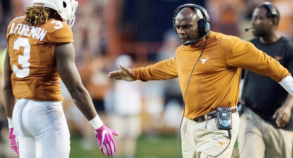 Texas head coach Charlie Strong said Monday that he expects to coach Friday's regular-season finale against TCU, and that he has been assured his future will be determined after the game. But will it be his last as UT's head coach? (Photo courtesy of texassports.com)