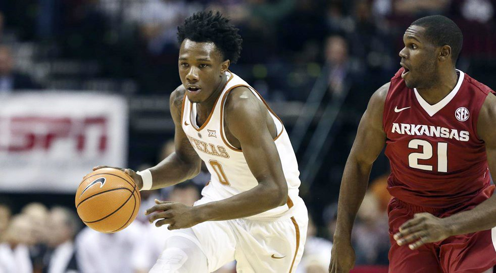 Sophomore swingman Tevin Mack led the University of Texas men's basketball team with 20 points and 12 rebounds, but his double-double was not enough as the Longhorns fell to Arkansas, 77-74 (photo courtesy of texassports.com).