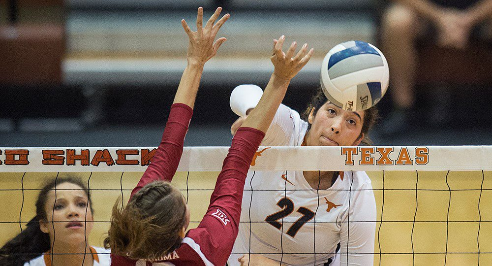 Sophomore Yaasmeen Bedart-Ghani established new career highs Friday with 13 kills and a .929 hitting percentage to help the University of Texas volleyball team cruise past UT-Rio Grande Valley in straight sets (photo courtesy of texassports.com).