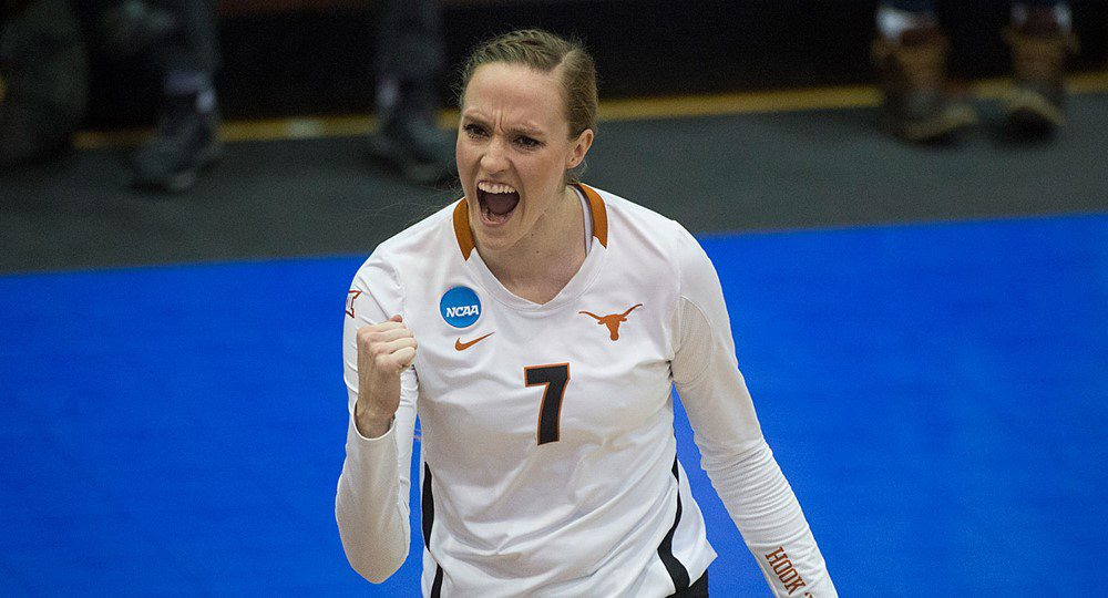 The Texas volleyball team is headed back to the NCAA championship match after beating the defending national champions, the Nebraska Cornhuskers; Texas will play Stanford Saturday for the national title (photo courtesy of texassports.com).