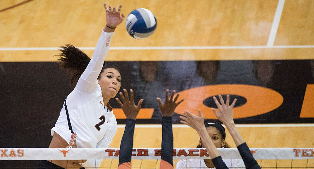 Junior outside hitter Ebony Nwanebu had 13 kills and hit .619 to help lead the Texas volleyball team to a 3-0 sweep of Creighton to advance to the NCAA semifinals for the fifth consecutive season (photo courtesy of texassports.com).