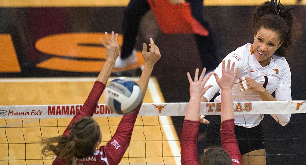 Freshman outside hitter Micaya White had 24 kills to help lead the University of Texas volleyball team to a five-set victory over BYU Friday, setting up a showdown Saturday against Creighton in the NCAA quarterfinals (photo courtesy of texassports.com).