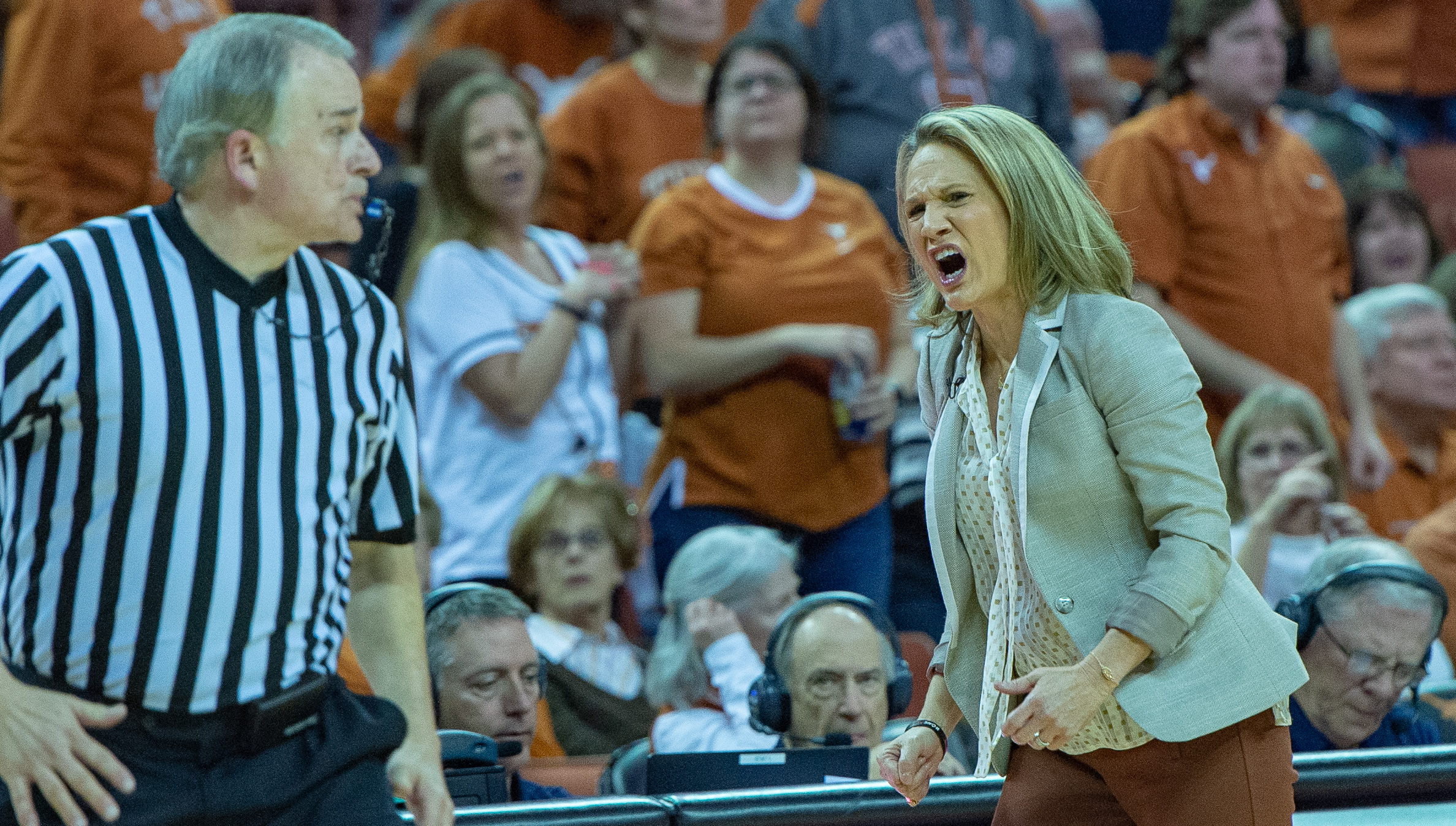 Head Coach Karen Aston yells at her team.
