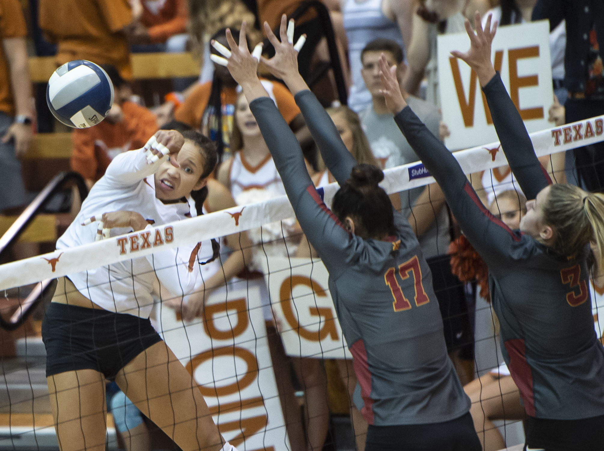 Micaya White led the Texas team with 19 kills. Micaya makes sure no one blocks this one!