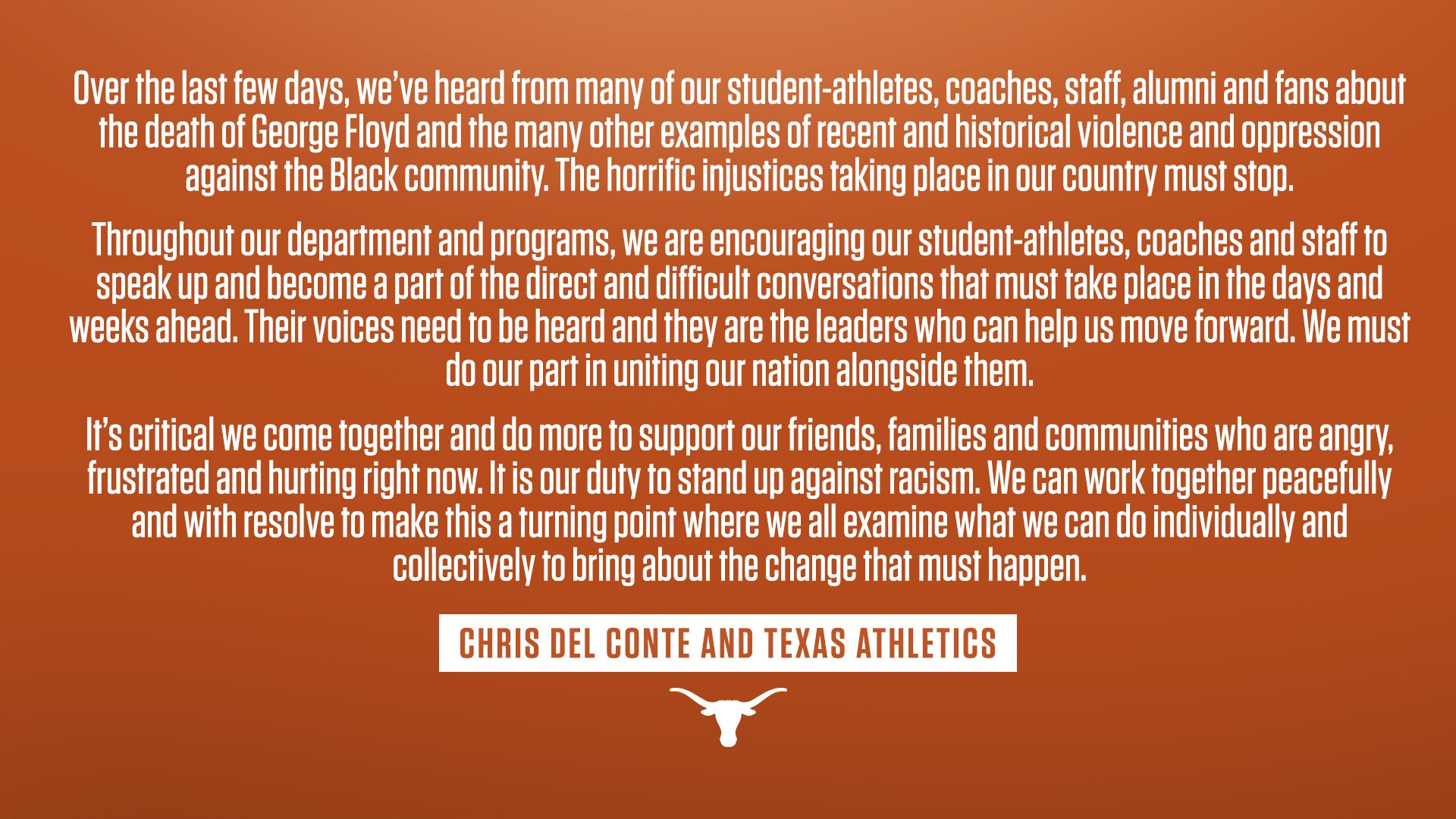 Statement from Texas Longhorns Athletic Director