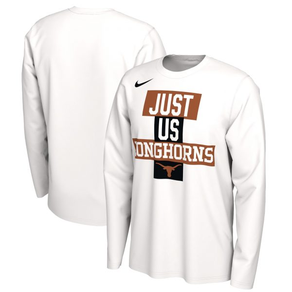 Texas Longhorns Nike 2021 Postseason Basketball JUST US Bench Legend Long Sleeve T-Shirt - White