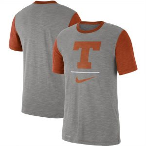 Texas Longhorns Nike Baseball Performance Cotton Slub T-Shirt - Heathered Gray/Texas Orange