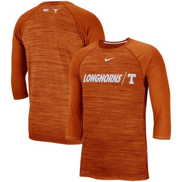 Texas Longhorns Nike Baseball Performance Legend Raglan 3/4-Sleeve T-Shirt - Texas Orange