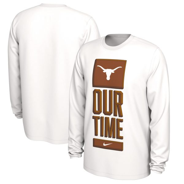 Texas Longhorns Nike Basketball Our Time Bench Legend Performance Long Sleeve T-Shirt - White