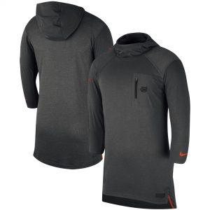 Texas Longhorns Nike KD Shooter Performance Tri-Blend Three-Quarter Sleeve Hoodie T-Shirt - Anthracite