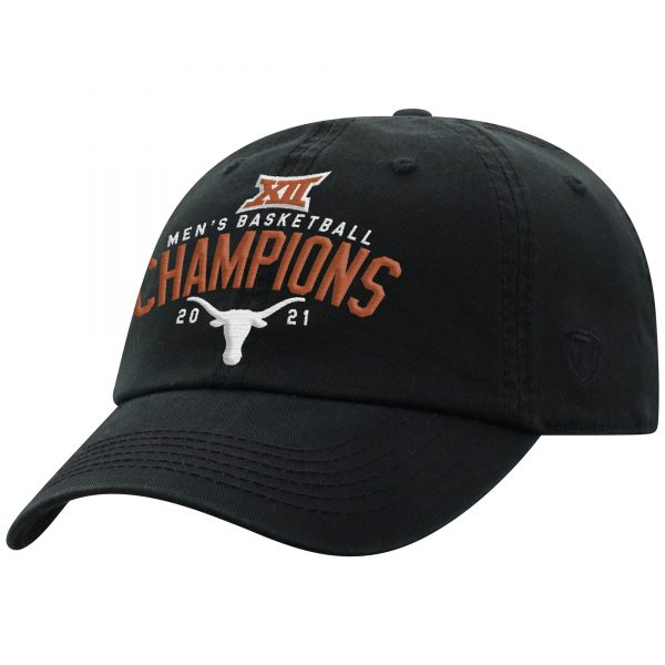 Texas Longhorns Top of the World 2021 Big 12 Men's Basketball Conference Tournament Champions Crew Adjustable Hat - Black