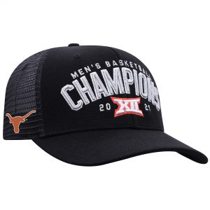 Texas Longhorns Top of the World 2021 Big 12 Men's Basketball Conference Tournament Champions Locker Room Adjustable Hat - Black