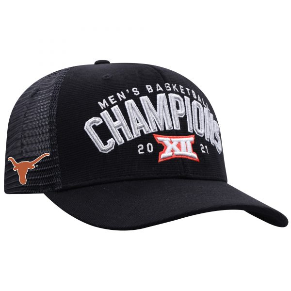 Texas Longhorns Top of the World 2021 Big 12 Men's Basketball Conference Tournament Champions Locker Room Adjustable Hat - Black