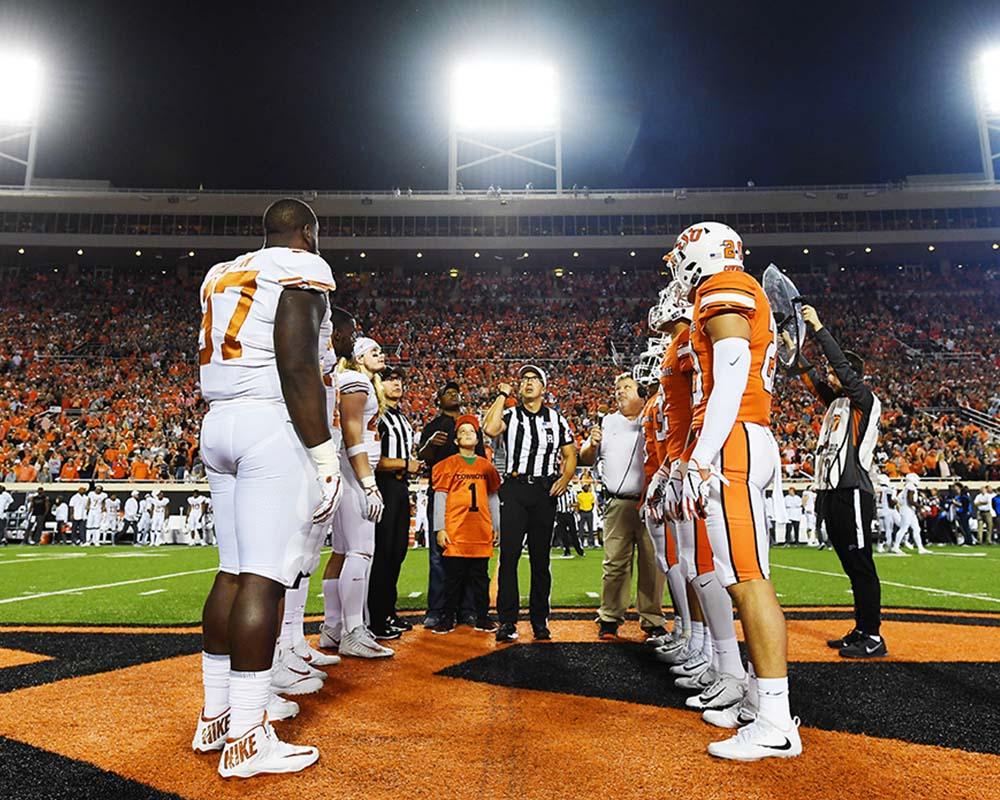 Texas at OSU coin toss
